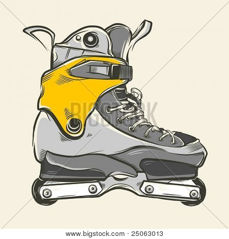 Hand-drawn aggressive inline skates. Vector illustration.