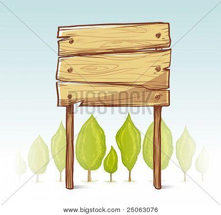 Wooden sign illustration. Vector illustration.
