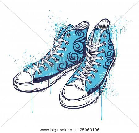 Hand-drawn sneakers. Vector illustration.