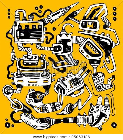 Abstract mechanism. Vector illustration.
