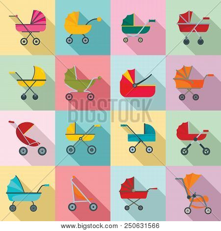 Pram stroller carriage cradle buggy icons set. Flat illustration of 16 pram stroller carriage cradle buggy vector icons for web poster