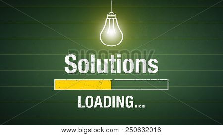 Banner Solutions Loading - Glowing Lightbulb On A Chalkboard