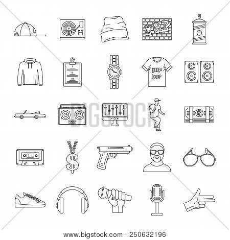 Hiphop Rap Swag Music Dance Icons Set. Outline Illustration Of 16 Hiphop Rap Swag Music Dance Vector