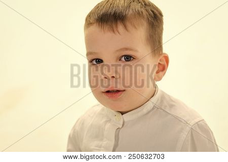Kid Fashion, Style And Look, Boss Baby. Child With Happy Face Isolated On White, White Party. Kid Wi