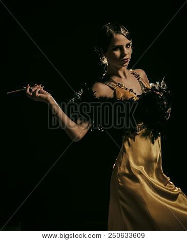 Girl In Yellow Dress, Boa Fur With Mouthpeice. Beauty And Vintage Fashion. Pin Up Pretty Fashion Mod