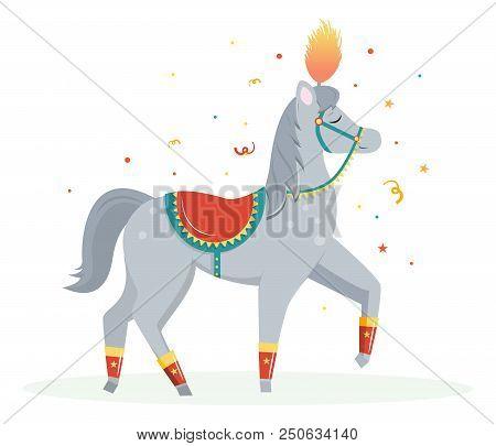 Cartoon Circus Horse Performs A Pace. Circus Performer.vector Illustration. Cartoon Flat Style.