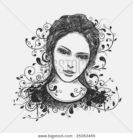 Hand-drawn portrait of young girl. Vector illustration.