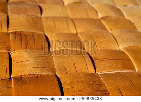 Natural Wattled Textured Background, Material Of Birch Bark Close-up