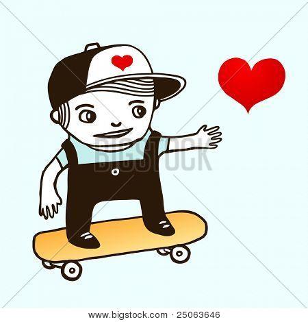 Skater boy. Vector illustration.