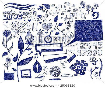 Hand drawn romantic doodles. Vector illustration.