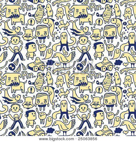 Funny seamless pattern. Vector illustration.