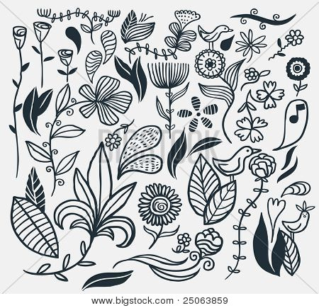 A hand drawn flower set. Vector illustration.