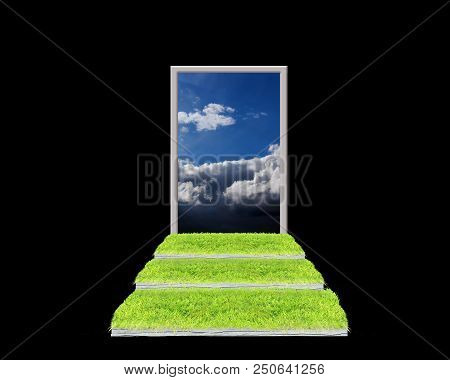 Stairs Covered With Green Grass Leading To Cloudy Heaven. Stairs To Heaven. Way From Darkness To Lig