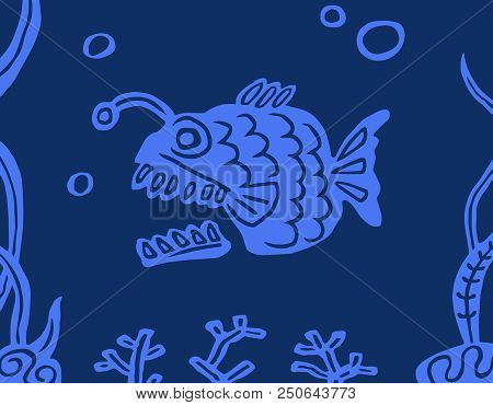 Fish Angler On A Blue Background. Undersea Nature. Vector Illustration.