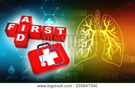 First Aid Cubes 3d Crossword, Stethoscope And First Aid Kit In Medical Background. 3d Render