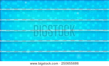 Paths For Dip In The Pool, Top View. Texture Of Water In Swimming Pool, Flat Lay View. Reflexion On