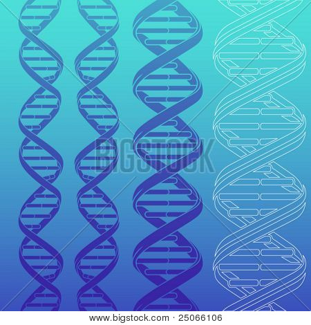 4 different DNA strands silhouettes