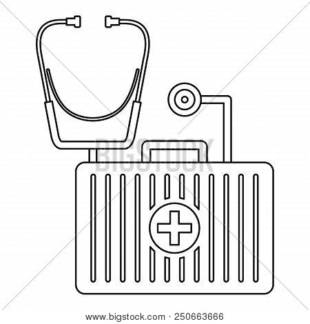 Stethoscope, First Aid Kit Icon. Outline Illustration Of Stethoscope, First Aid Kit Vector Icon For