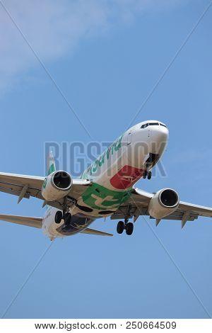 Amsterdam The Netherlands - July 22nd 2018: Ph-hsc Transavia Boeing 737-800 Final Approach To Schiph