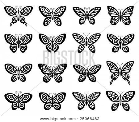 Butterflies icon set