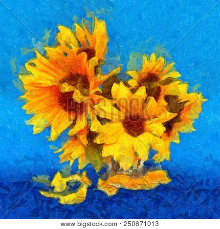 Sunflower Flower In Small Clear Glass Isolated On Blue, Digital Painting. Imitation Of The Style Of