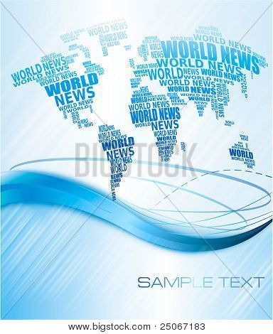 World news concept. Abstract world map made from World news words. Vector illustration.