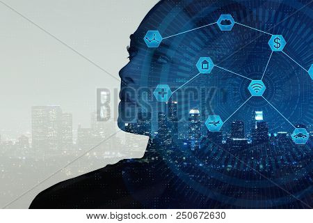 Businesswoman On Abstract Night City Background With Digital Business Interface. Artificial Intellig