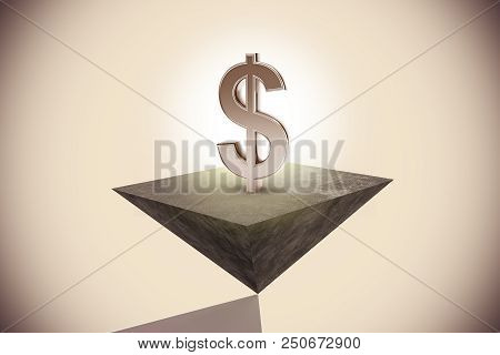 Creative Pyramid With Glowing Dollar Sign. Financial Growth Concept. 3d Rendering