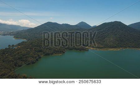 Aerial View Of Over Twin Lakes Buyan And Tamblingan In North Bali, Indonesia, A Caldera Lakes At Bal