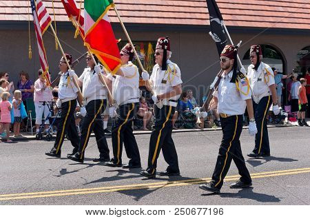 Mendota, Mn/usa - July 14, 2018: Osman Shriners Legion Of Honor Marches At Mendota Days Parade.