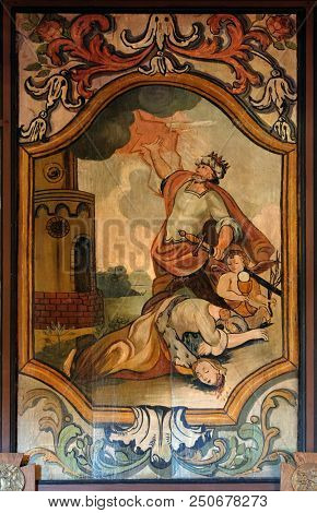 VELIKA MLAKA, CROATIA - MARCH 28: Martyrdom and Death of St. Barbara, altarpiece in the Church of the Saint Barbara in Velika Mlaka, Croatia on March 28, 2017.