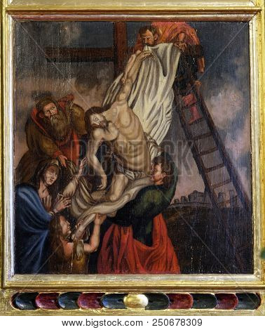 VELIKA MLAKA, CROATIA - MARCH 28: Deposition of Christ from the Cross, altarpiece in the Church of the Saint Barbara in Velika Mlaka, Croatia on March 28, 2017.