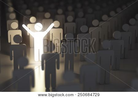 Stand out from the crowd, difference and leadership concept. Many people and a one glowing. 3d illustration