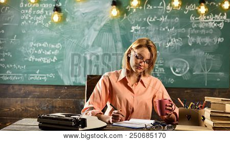 Planning Of Business Concept. Woman Planning Her Strategy. School Planning.