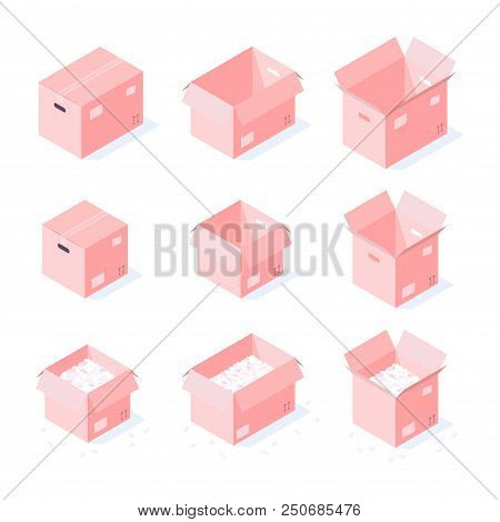 Vector Isometric Cardboard Box Set. Collection Of Isometric Cardboard Boxes Of Different Types - Ope