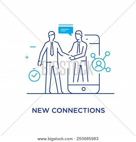 Businessmen Shake Hands With Each Other. Virtual Communication Smartphone. Cooperation Interaction.