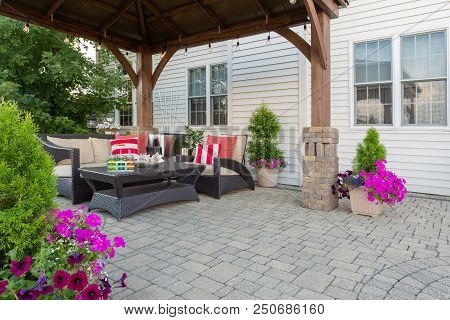 Brussel Block Design Pavers On An Exterior Patio And Summer Living Space With A Covered Gazebo, Colo