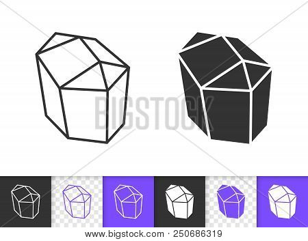 Sapphire Crystal black linear and silhouette icons. Thin line sign of gem. Mineral outline pictogram isolated on white, color, transparent background. Vector Icon shape. Crystal simple symbol closeup poster