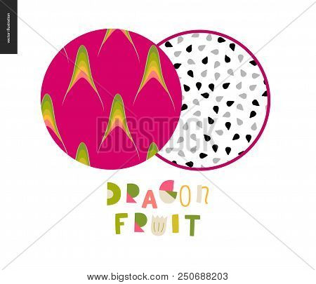 Food Patterns, Summer - Fruit, Flat Vector Illustration, Dragonfruit Texture - Two Seamless Patterns