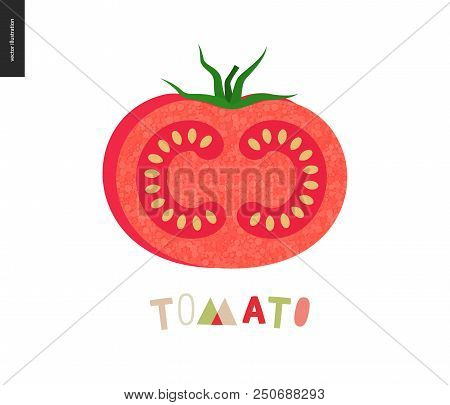Food Patterns, Summer - Vegetable Fruit, Flat Vector Illustration- A Ripe Tomato With Red Rind, Red