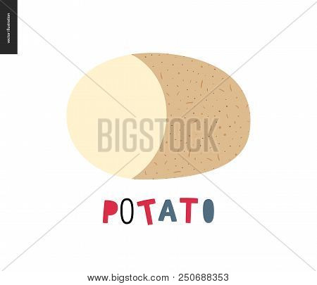 Food Patterns, Summer - Vegetable, Flat Vector Illustration - Potato Peel Texture - Small Cut Potato