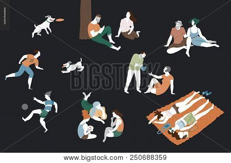 People Park Festival Picnic - Flat Vector Concept Illustration Of A Group Of People Relaxing In The