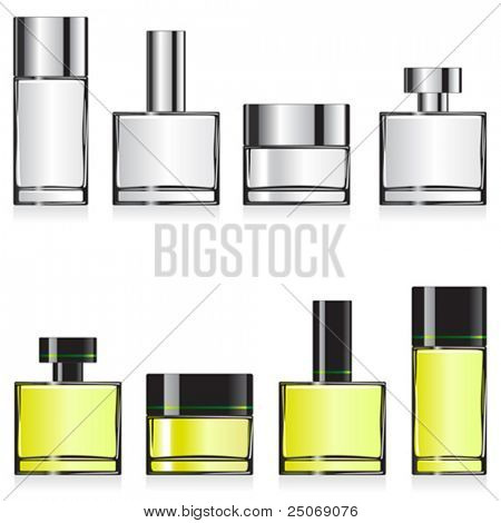 Vector fragrance container templates for designers. Editable. No mesh