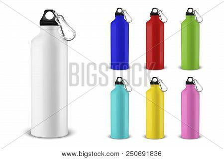 Vector Realistic 3d Different Color Empty Glossy Metal Water Bottle With Black Bung Icon Set Closeup