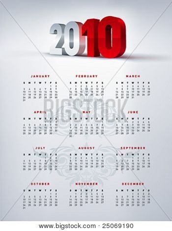 2010 english calendar in US letter. Vector.