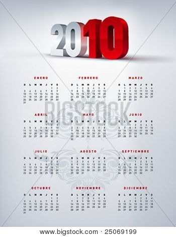 2010 spanish calendar in letter size. Vector.