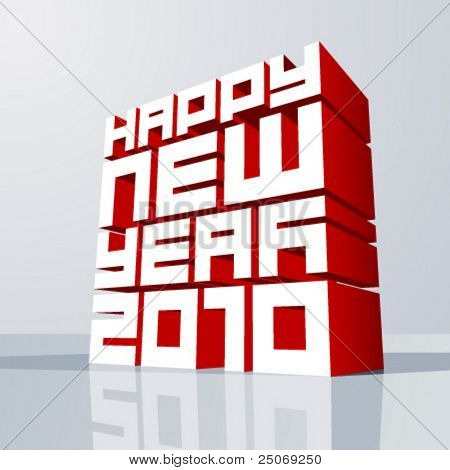 Vector New year 2010. Editable. No mesh.