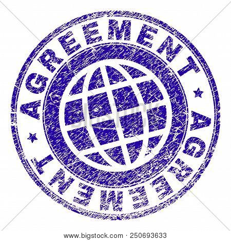 Agreement Stamp Imprint With Grunge Texture. Blue Vector Rubber Seal Imprint Of Agreement Caption Wi