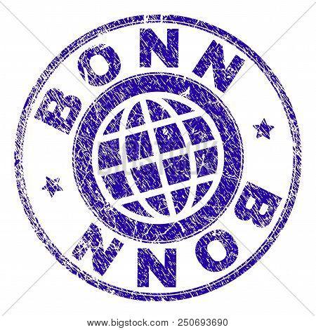 Bonn Stamp Imprint With Grunge Texture. Blue Vector Rubber Seal Imprint Of Bonn Caption With Unclean