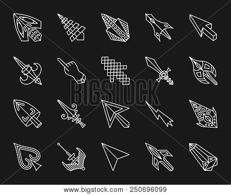 Mouse Cursor Thin Line Icons Set. Outline Monochrome Web Sign Kit Of Arrow. Click Linear Icon Collec